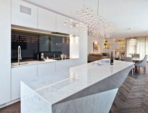 Bàn đá grantie trắng cho căn hộ thêm phần sang trọng