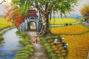 Trang trí tường bằng tranh vẽ quê hương
