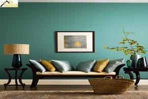 Phòng khách xanh ngọc bích độc đáo