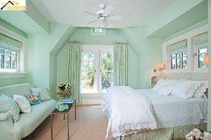 Phòng ngủ màu xanh ngọc bích nhạt