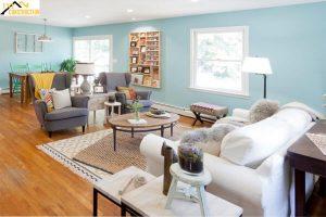 Phòng khách sơn màu xanh ngọc bích nhạt