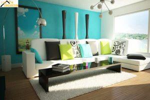 Phòng khách hiện đại với màu xanh ngọc bích