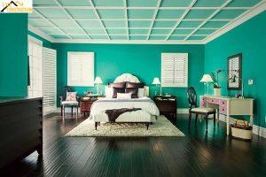 Màu xanh ngọc bích đậm phòng ngủ