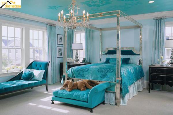 Phòng ngủ với màu xanh ngọc bích sang trọng